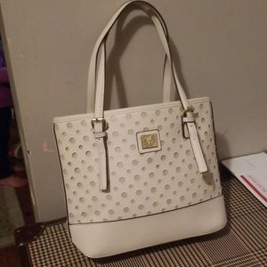 Anne Klein tote style purse cream laser cut